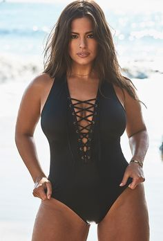 b8e12b52db Ashley Graham x Swimsuits For All CEO Black Lace Up One Piece Swimsuit