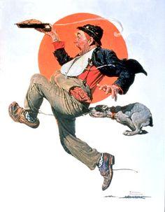 "Norman Rockwell ""Hobo Stealing Pie"" (1928)"