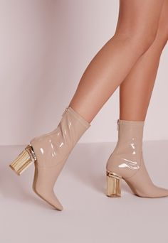 Perspex Patent Heel Ankle Boots Nude - Shoes - Boots - Missguided