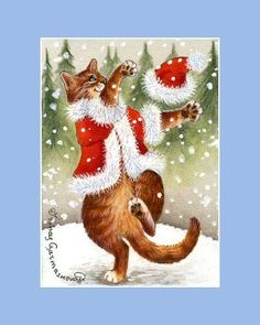 Ginger-Cat-ACEO-Happy-Snow-Day-an-original-by-I-Garmashova
