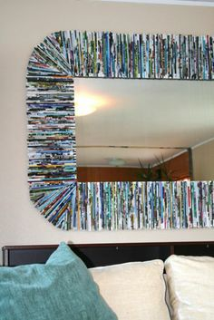 recycled magazines around mirror ~~ a show stopper , by create design.com