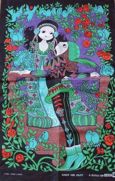 """Romeo & Juliet by Belinda Lyon. Part of the Oxfam """"great lovers of the world"""" series. This design was first issued by Oxfam in Psychedelic Fashion, Knight In Shining Armor, Mid Century Modern Art, Retro Illustration, Vintage Greeting Cards, Tea Towels, Folk Art, Painted Wardrobe, Vintage Tea"""