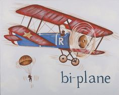 Biplane Hand Painted Art by Reesa, Hand Painted Art,Personalized Art, Art for Boys