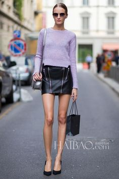 lilac color sweater& leather mini skirt
