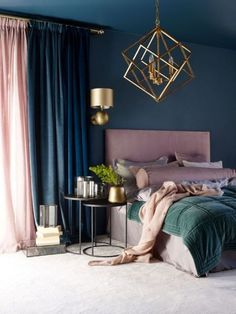 25 Most Stylish Bedroom Color Combination Ideas to Steal Blue And Pink Bedroom, Dark Blue Bedrooms, Bedroom Green, Dusty Pink Bedroom, Dusty Pink Curtains, Navy Curtains Bedroom, Navy Gold Bedroom, Dark Blue Curtains, Dark Master Bedroom