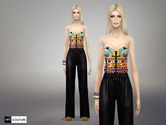 A sleeveless jumpsuit with a colorful top and a dark bottom. I gave a new cut to the standard EA jumpsuit by editing the alpha map and removing the bump map :) It is a standalone item with only one. Sims 4 Tsr, My Sims, Play Sims 4, Sims 4 Blog, Sims 4 Clothing, Female Clothing, Sims 4 Game, Sims 4 Update, Sims Community