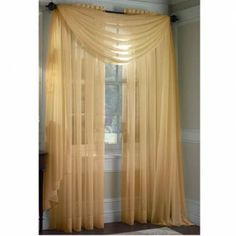 "HLC.ME Voile Sheer Curtain Gold 60 x 216 in. Scarf by HLC.ME. $7.95. Decorate every window with style and sophistication. Sheer allows natural light to flow through the room for an elegant finished look. Scarf measures 60"" x 216"" Inches. The finishing touch for your window is a beautiful Decorative Curtain Rod (not included). This picture shows two sheer curtain panels and one sheer scarf. This package contains one (1) sheer scarf. You can look through our store to mix and ma..."
