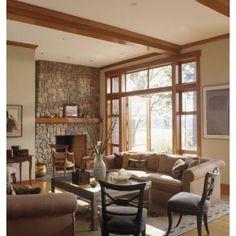 Natural wood trim, wall color - so cozy!