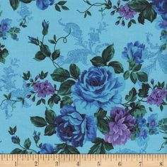 Timeless Treasures Tapestry Rose Bouquet Turquoise from @fabricdotcom  Designed by Chong-A Hwang for Timeless Treasures, this fabric is perfect for quilting, craft projects, apparel and home decor accents. Colors include shades of blue, shades of green and shades of purple.