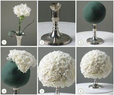 {diy Wedding Ideas} White Carnation Centerpiece Ball