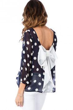 navy + white polka dot bow back blouse.