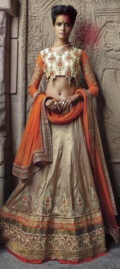 162474: Beige and Brown color family Mehendi & Sangeet Lehenga.