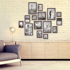 15er Set Bilderrahmen Nuss Modern zur Gestaltung einer Bilderrahmen Collage / Bildergalerie