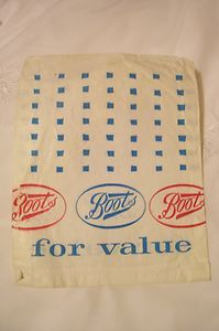 "Vintage 1970s Boots paper bag - worked in Boots as a ""Saturday Girl"" in the picture department."