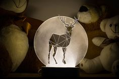 Full Moon deer lamp / Christmas decoration lamp / LED stag nightlight / Concrete fawn lamp / animal decorative lamp / woodland themed lamp