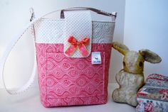 Quilted Cotton Diaper Bag in Pink and White Print by bebag on Etsy, $60.00