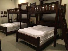 Custom Bunk Beds Texas Bunk Bed - Twin over Queen - Rustic Perpendicular Designer Full Loft with Queen