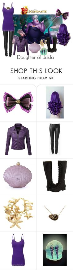 """Disney's Descendants #3: Daughter of Ursula"" by unbreakablekatniss ❤ liked on Polyvore featuring Disney, Hudson Jeans, Moonbeam, Frye and Bozzolo"