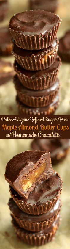 Mini maple almond butter cups with homemade coconut oil chocolate - paleo, vegan, and refined sugar free