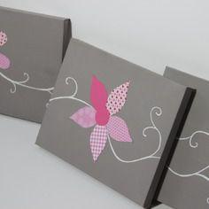 Tableau triptyque fleurs roses - Déco murale chambre enfant, fille, bébé. Cadeau de naissance. décoration…. by Little-Klo
