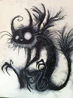 This whimsical charcoal cat drawing - Cat Art - Katzen Arte Emo, Estilo Tim Burton, Arte Horror, Creepy Art, Etsy Crafts, Art Plastique, Dark Art, Amazing Art, Awesome