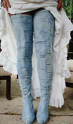 denim thigh high boots for Awel <3