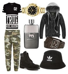 """Styled By Gypsyy"" by gypsyygoon on Polyvore featuring True Religion, Timberland, Gucci, Rolex, Fendi, adidas, men's fashion and menswear"