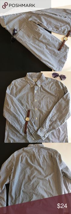 """J.Crew Quality Woven Cotton Button Blue Check J.Crew quality woven 100% cotton Button Down Shirt. Blue/White Check made in Mauritius. Excellent Condition 👌🏼 Shoulder: 19""""; Chest: 22""""; Length: 30"""" J. Crew Shirts Casual Button Down Shirts"""