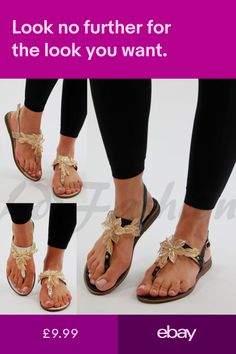394a6e6f74a New Womens Flat Embellished Sandals Toe Post Ankle Strap Flower Leaf Shoes