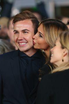Mario Goetze and his girlfriend Ann-Kathrin Broemmel arrives for the movie premiere 'Die Mannschaft' at Sony Center Berlin on November 10, 2014 in Berlin