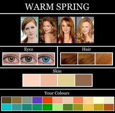 Dominant characteristic is WARM Warm Hair Warm Eyes Warm Skin Must have all 3 Warm elements Golden blonde, strawberry blonde, golden brown, light brown… Bright Spring, Warm Spring, Warm Autumn, Spring Color Palette, Spring Colors, Color Type, Type 1, Mode Glamour, Seasonal Color Analysis