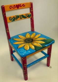 Image of: painted furniture ideas tables kitchen tables painted table and chairs grey drop leaf Hand Painted Chairs, Painted Stools, Funky Painted Furniture, Paint Furniture, Furniture Projects, Furniture Makeover, Cool Furniture, Chair Makeover, Furniture Chairs