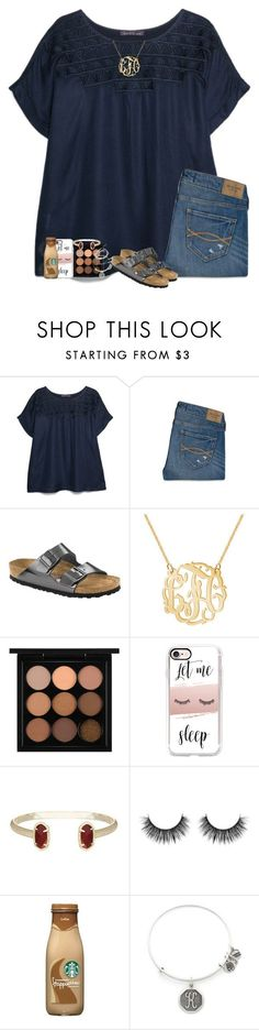 """""""dynamite"""" by hailstails ❤ liked on Polyvore featuring MANGO, Abercrombie & Fitch, Birkenstock, MAC Cosmetics, Casetify, Kendra Scott, Alex and Ani and Samsung"""