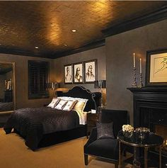 dark bedroom walls with gold trim - Google Search