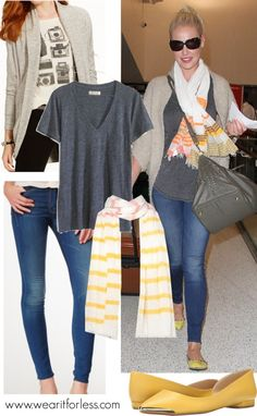 Katherine Heigl at LAX in an oversized cardigan, gray tee, and yellow flats and scarf - get the look for less! www.wearitforless.com