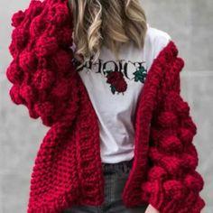 2018 Autumn&Winter Knitted Crochet Sweater for Women Chunky Oversize Cardigan Coat Open Female Sweaters Cardigan Women Knitwear Chunky Knit Cardigan, Chunky Wool, Crochet Cardigan, Chunky Crochet, Crochet Baby, Crochet Bodycon Dresses, Black Crochet Dress, Hand Knitted Sweaters, Wool Sweaters