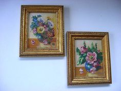 "Pair of 2 Antique Glenn Bastian Flower Oil Paintings Offered for sale are a pair of flower still life paintings by Indiana artist, Glenn Bastian.  They are in very good condition,(a slight flaw on the bottom of one of them, looks like a line scratched into the paint, not too visible.  signed with initial on the front and titles and signature on back of each.  Each measures 6 and 3/4"" by 5 and 1/2"".    $150.00 or Best Offer +$12.00 shipping"