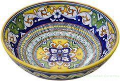 Majolica Ceramic Bowl - Ornato style - inches high x 12 inches in diameter cm high x diameter) Pottery Painting, Ceramic Painting, Ceramic Art, Talavera Pottery, Ceramic Pottery, Panda Bowl, Tuscan Art, Italian Pottery, Tuscan Decorating
