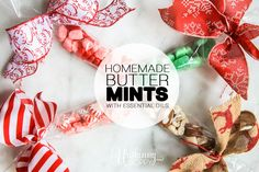 Recipe for homemade butter mints made with essential oils that taste so much better than the ones you find at wedding receptions. Custom colors and flavors! Mint Recipes, Candy Recipes, Spearmint Essential Oil, Essential Oils, Butter Mints, Mulling Spices, Cinnamon Essential Oil, Scented Sachets, Homemade Butter