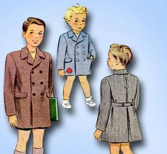 1940s Vintage McCall Sewing Pattern 6196 Cute WWII Toddler Boys Coat Size 2