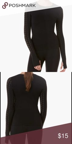 Form Focus Laser Cut Seamless Longsleeve T-shirt Form+Focus Women's Laser Cut Seamless Longsleeve T-shirt, color in black and size S/M  Versatile tee for all sorts of occasions Decorative laser-cut detailing along arms Materials: 95% polyester, 5% spandex Form Focus Tops Tees - Long Sleeve