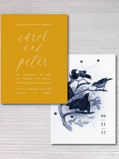 LOVE BIRDS Wedding Invitation Set, Save the date, RSVP postcard, Printable Wedding Invitation Suite, Customizable Wedding Invites