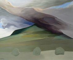 Toni Onley Mount Tarawera, N.oil on board Contemporary Landscape, Abstract Landscape, Landscape Paintings, Abstract Art, Abstract Paintings, Canadian Painters, Canadian Artists, Classic Paintings, Mountain Art