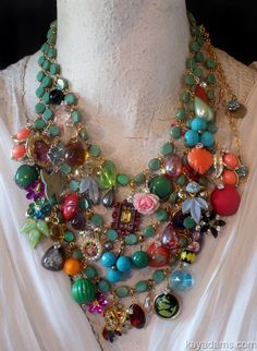 "A bauble of all colors...Kay Adams. Joyce Lewis says, ""This is so beautiful! I wonder if you could use old and/or broken necklaces, earrings and broaches to make your own? Anyone have any ideas?"
