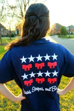 Future First Lady  - Stars, Stripes, and Bows Navy Pocket TShirt. $17.99 - www.FutureFirstLady.net