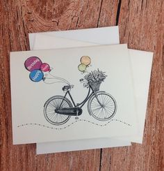 Happy Birthday Bikes & Balloons Card - BB201 - Birthday Card with Bike and Balloons - Invitations