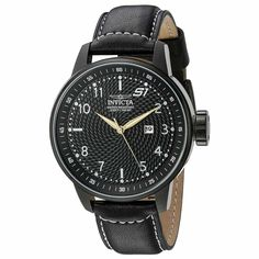 Invicta 19619 Men's S1 Rally Black Leather Strap Black Dial Date Watch