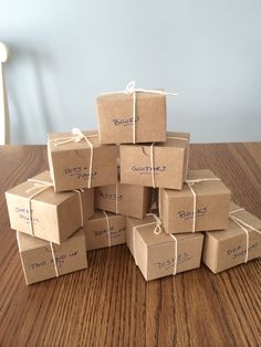 Moving box favors -another great idea found on Pinterest!