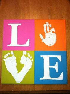 DIY. So cute with baby hand and foot prints. I'd probably pick different colors, but still great idea.