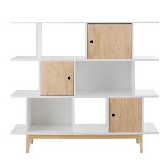 White wooden bookcase L 145 cm